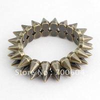 High Quality Hot Sale New Fashion Cheap Jewelry Punk Style Spike  Rivets Antique brass Bracelet  for women & men, punk jewelry,