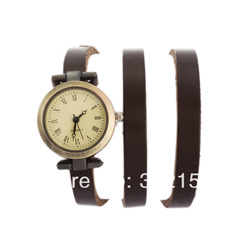 New Arrival Punk Cow Leather winding women Watches 100% Excellent Quality Christmas Holiday Ribbon jewelry(China (Mainland))