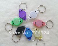 Guaranteed-15% OFF Promotion 7 Colors Mini LED KeychainThumb Hand-Pressing Light Bulb Flashlight Key Chains Lamp--2000pcs