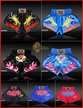 Free Shipping 10 pcs / lot Muay Thai Boxing MMA Sanda Shorts Trunks Size M-XXXL Colour Black / Blue / Red (U018-U020) !!