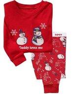 Free shipping 6pcs/lot baby Christmas Pyjamas kids red cotton pajamas girls boys clothing sets/sleepwear/homewear