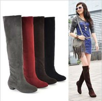 Free Shipping 2013 New Arrival Sacen Fashion Winter Flat Heel Boots,Over The Knee Boots For Women