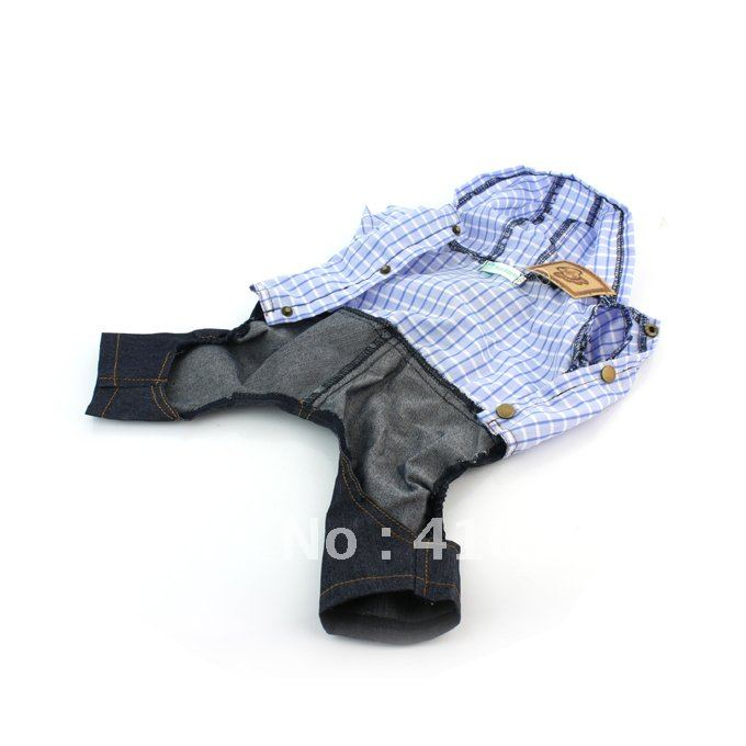 """Casual Style Puppy Hoodie Shirt& Gallus Jeans Clothing with Grid Patterns& Cap 10"""" Dog Wear for Daily Wear Cool Days"""