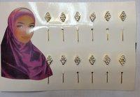Free Shipping(Min Order $15)Brooch Wholesale,12pcs/dozen,Hot Sale Silver Plated Muslim MSLB-087 Hijab Pins
