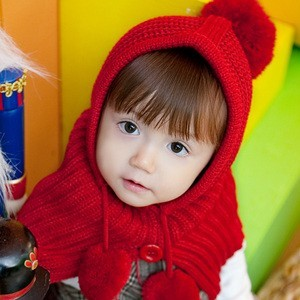 Free shipping  2013 new Korean fashion thickenning knitted caps for children kids winter scarf hats big ball ears wholesale
