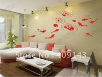fish water flower vinly PVC  wall sticker DIY art drawing house room wall quote decal decoration