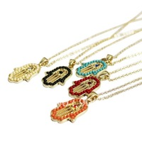 Free Shipping Wholesale fashion vintage hamsa hand Fatima's hand necklace clavicle chain fashion jewelry 12pcs/lot