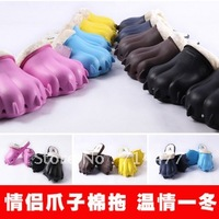 Wholesale 2012 cat's claw cotton-padded slippers toe cap covering paw shoes lovers design male drag shoes christmas gift