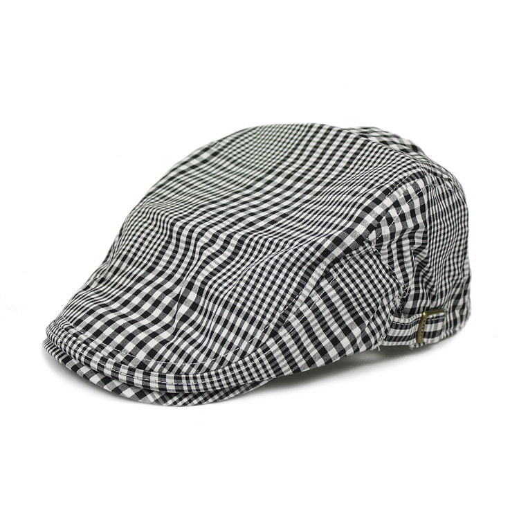 Korean style, men's fashion in black and white plaid stripe cap, beret, welcome to place an order to buy!(China (Mainland))
