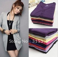 2012 NewFashion Women's Cardigan Sweater Long sleeve Casual Slim Cotton Solid Knitwear Hoodie Coat Suit 8 colors Drop shipping
