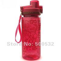 Free shipping, hello kitty cartoon water bottle plastic tumbler cups Travel bottle Cute novelty kettle Red bottles,10 pcs/lot