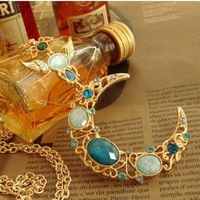 Retro Turquoise Long Sweater Pendant Necklace Jewellery Z-A6012 Free Shipping