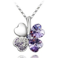 Four leaf clover necklace quality accessories austria crystal accessories austrian rhinestone gift