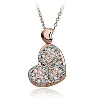 Accessories quality double layer austria crystal heart necklace