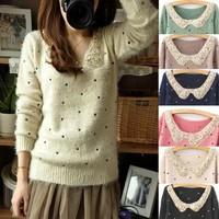 Small fresh paillette collar mohair dot polka dot explaines long-sleeve sweater