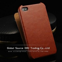 Luxury crazy horse Flip leather case for Iphone 4s 4g Gsource designer ultrathin leather handbag for iphone 4g fashion cases