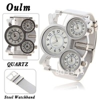 Free Shipping Fashion Oulm Multi-Function 3-Movt Quartz Watches Steel Wrist Watch with White Dial for Male  Men's Watch - Silver