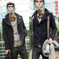 Spring and autumn men's clothing short jacket casual jacket woolen slim male woolen brief thin jacket