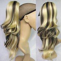 Hot Sale Women Hair Tail Loose Wavy Highlight Ponytail Hair Ponytail Extensions #K613BHK5 Brown & Blonde Ponytail Wig