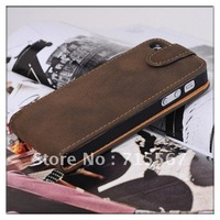 Retro style Flip Leather Pouch Case Cover for iPhone 5 5G,10pcs/lot+Free Shipping