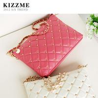 free shipping Kizzme rivet plaid sheepskin chain sewing thread messenger bag genuine leather women's handbag