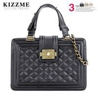 free shipping Kizzme leboy vintage brief bronze chain plaid handbag bag one shoulder women's handbag