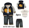 3pcs set boy clothing set baby wear suit boy romper+coat+short pant cartoon suits children outwear baby garment free shipping
