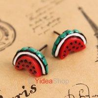 Wholesale - 30pcs Fashion Lovely Rock Red Fruit Watermelon Design Tongue Ear Stud Earring 260884