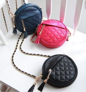 2012 candy color round of small chain bag plaid tassel fashion one shoulder cross-body women's handbag bag