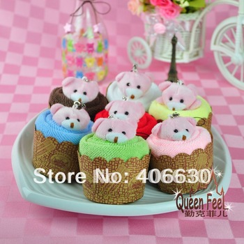 cake towel with small bear, in OPP bag, christmas valentine wedding gift towel, 35pcs/lot, free shipping by China post air mail