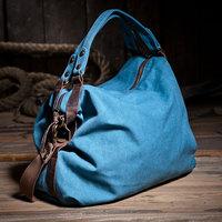 Free shipping 2014 Water wash canvas crazy horse leather women's shoulder bag casual cross-body handbag blue khaki color