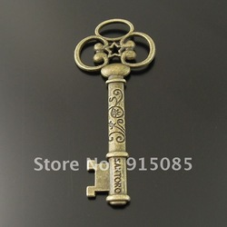 Antique Style Bronze Alloy Vintage Skeleton Key Grave Flower Words Pendant 61mm 20pcs 35901(China (Mainland))