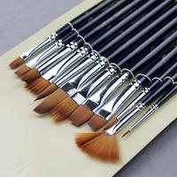12 pcs different shape nylon hair paint brush gouache watercolor brush oil painting acrylics brush art supplies free shipping