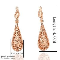 18KDJE142 Fashion 18K K Gold Plated Wedding Jewelry earrings Nickel Free Plating Platinum Rhinestone Austrian SW Element Crystal