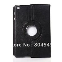 Rotating Stand Hard Leather Smart Case For Apple Mini iPad  Black PT52