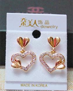 Free Shipping Stud Earring Female Small Love Rhinestone Heart Drop Elegant accessories(China (Mainland))