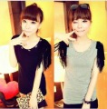Love~Beauty Women Shirts,Fashion Small Skull Decoration Tassel Desgn Sleeveless T-shirt,Top Tees,Black/Gray,Wholesale
