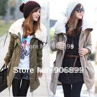 2014 Real Rushed Casacos Femininos Women Coat Korea Fashion Women Warm Long Sleeve Zip Fleece Winter Coat Jacket Outwear Parka