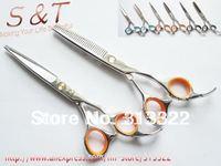 5.5inch Barber Scissor Kits,Hairdressing Scissors,Hair Cutting Shears, Hair Cutting Scissors+Thinning Scissors+Leather Bag,440C
