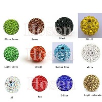 Best  Quality  100Pcs/lot  Wholesale   Shamballa Beads 10MM  Micro Pave CZ Crystal Disco Ball Shmballa Bead