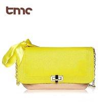 Hot Selling TMC Vogue Fashionable Women Neon Yellow Silk Ribbon Chain Messenger Swiss Handbag Evening Swiss Handbag YL075-2
