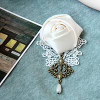 Rosarium handmade lace brooch corsage vintage pin fashion cape buckle
