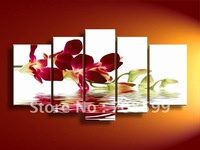 hand-painted oil wall art Water red flowers beauty home decoration Landscape oil painting on canvas 5pcs/set mixorde
