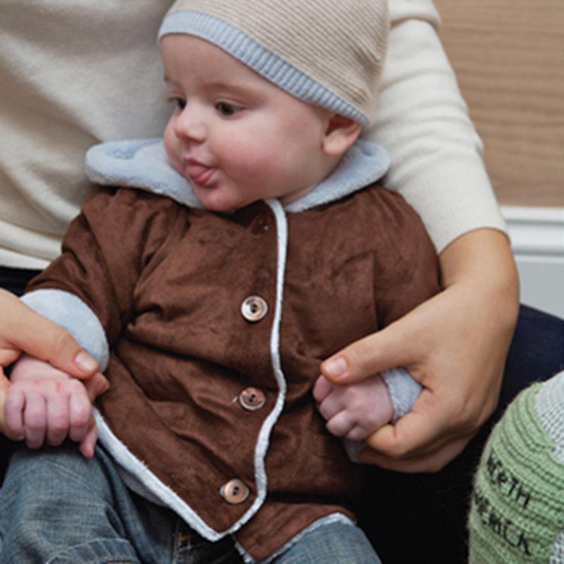 2.012 infantil couro cabra pequena casaco bebê jaqueta térmica outerwear 0-3 1158(China (Mainland))