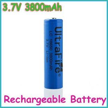 Free Shipping!!!10pcs/lot UltraFire 18650 3.7V Rechargeable Lithium Battery AKKU 3800mAh for Flashlight