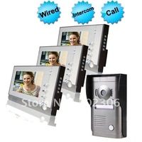 Wired 7 Inch Video Color Door Phone Three Indoor With One Outdoor  EW-VDP660