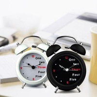 Metal double bell quieten doubles bell alarm clock rustic table clock belt luminous bell alarm clock 32