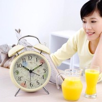 Qiaobusi rustic quieten double bell alarm clock alarm clock metal band luminous clock 210