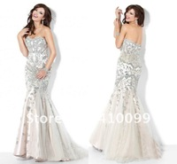 New Arrival 2013 Sweetheart Delicate Crystal Beaded Organza Fashion Mermaid Prom Dresses