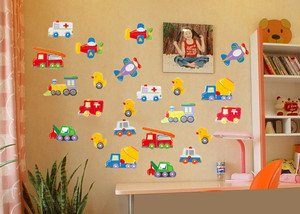 Cars Airplanes Ducks Wall Stickers Home Children Kids Room Decal Decor(China (Mainland))